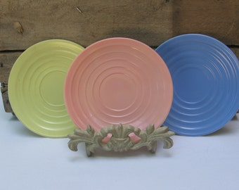 "Pastel Saucers, Hazel Atlas Platonite Saucers, Set of THREE Pastel Saucers, Yellow Blue Peach, Milk Glass Saucers, 5 5/8"" Saucers, Tea Party"