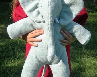 Giant Baby African Elephant, Organic Stuffed Animal, Kid's Toy, GOTS Certified Organic Cotton & Alpaca Stuffing