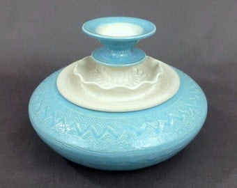 """Ceramic Jar in Turquoise and Matte White. 4 1/2"""" T x 6"""" W. Handmade. Ceramics and Pottery. Stoneware. Vessel. Canister. Home decor."""