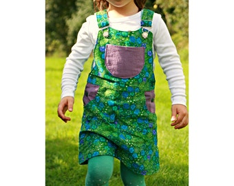 Girl Pinafore sewing pattern Pdf, BLOOMY Skirt Dungaree Overall Jumper, Girl toddler, size 3 4 5 6 7 8 9 10 yrs Instant Download