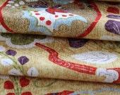 Kimono Fabric, Japanese Kimono Silk, Floral Fabric, Silk Chirimen Crepe, Floral Kimono