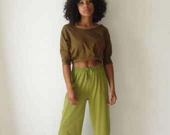 Vintage cotton sweatpants 90s lime green lounge pants Wide leg cropped pants Yoga pants