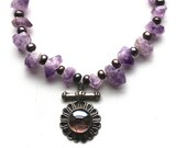 Amethyst Statement Necklace Crystal Amethyst Statement Pendant Necklace Purple Crystal Amethyst Black Cultured Pearls and Turkish Pendant