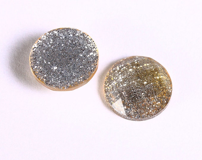 12mm Yellow glitter cabochon - Gold sparkly cabochons - Galaxy glitter cabochon - 12mm Kawaii cabochon (1548) - Flat rate shipping