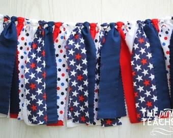Patriotic Fabric Bunting - FREE Shipping - Patriotic Garland - Patriotic Bunting - Patriotic Party - Patriotic Fabric Garland