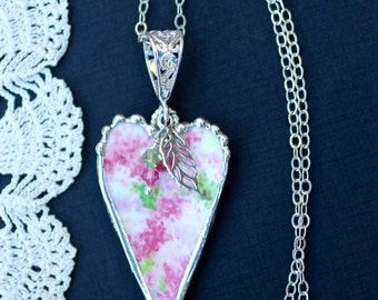 Necklace, Broken China Jewelry, Broken China Necklace, Heart Pendant, Pink and Green, Sterling Silver