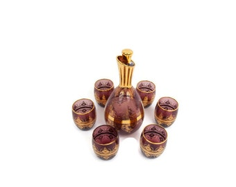 Vintage Italian Amethyst Glass Decanter Glasses Set of 6 Laguna Murano Glass Gold Lace Overlay Hand Blown Glass Liquor Carafe Made in Italy