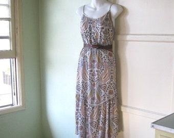 Vintage Beach Bum/Bohemian Dress; Purple Flower Print - Long Cotton Floral Sundress; Medium-Lg - '90s Grunge/Hippie Slip Dress