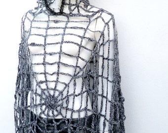 Halloween Costume Women, Halloween Spiderweb Hooded Poncho Cloak Goth Grunge Clothing Plus Size Crochet Mesh Poncho Hoodie Charlotte's web
