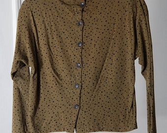 90s Khaki Green and Black Polka Dot Print Button-Up Back Long Sleeve Mock Neck Top