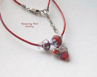 Red Lampwork Glass Heart Pendant on Adjustable Leather Necklace with Glass Beads, Silver, Anniversary Gift, Unusual Jewelry