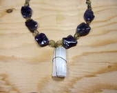 Bohemian Jewelry - Stone Necklace, Statement Necklace, Raw Crystal Necklace, Raw Selenite Pendant, Amethyst Necklace