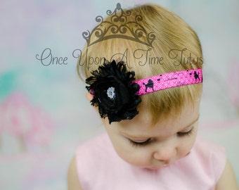Paris Theme Shabby Flower Headband - Birthday Party Favor or Photo Prop - Newborn Baby Little Girl Hair Bow - Hair Accessory - Ready To Ship