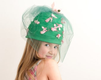 Vintage Beehive Green Pleated Organza Hat w/ Pink Flowers - Mid Century