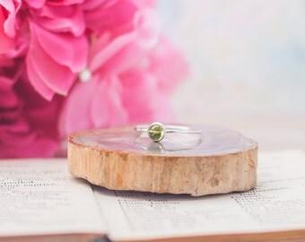 Peridot Ring Sterling Silver Ring Gemstone Ring August Birthstone Ring August Ring