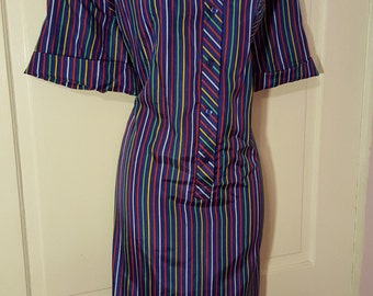 LINE UP DRESS // Vintage Primary Colors Striped Dress JCPenney Plus Size Size 20 Button Down