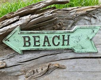 Beach Arrow Sign - Outdoor Beach Sign, Outdoor Metal Wall Art, Outdoor Metal Sign, Outdoor Beach Decor, Beach House Decor, Beach House Gift