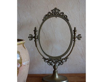 SUPERB Vintage French Bronze Vanity Oval Mirror on Pedestal Base Lovely Detail Circa Early 1920's