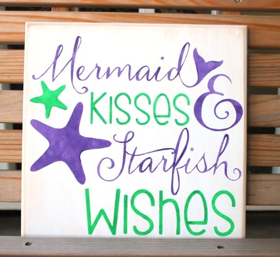 MERMAID KISSES and STARFISH Wishes - 12 x 12 - Painted Wooden Sign - Beach Decor - Mermaid Decor -  Bathroom Decor - Purple and Green - Wood