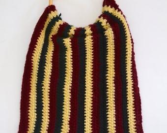 Retro 1970s Crochet Wood Handle Handbag, Vintage Wool Striped Purse