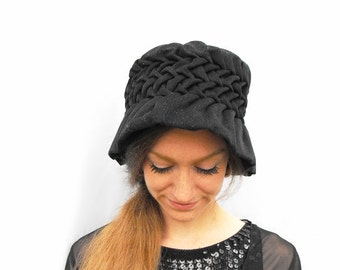 Edwardian Mob Cap Antique 1900s Handmade Gathered Gothic Black Bonnet Ruched Ruffled Brim Corduroy Victorian Era Sunbonnet Button Bucket Hat