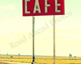 5 x 7 matted photograph, Route 66, Retro sign photography,
