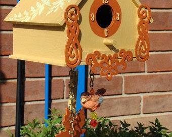 Hand Painted Orange and Yellow Cuckoo Clock Inspired Bird House