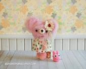 kawaii pink bear, crochet amigurumi petite  fuzzy  posable bear, stuffed plush animal bear and chibi totoro