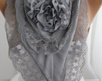 Grey Rose Scarf Victorian Scarf Shawl  Lace Scarf Winter Spring Summer Fashion Women Accessories Christmast Gift ForHer DIDUCI Cyber Monday