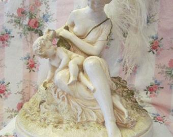 Maiden With Cherub Chalkware Statue Shabby Chippy LARGE