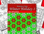 Adult Coloring Book. Winter Holiday Designs Volume 1. Downloadable PDF INSTANT DOWNLOAD - printable for Personal Use. Set of 6