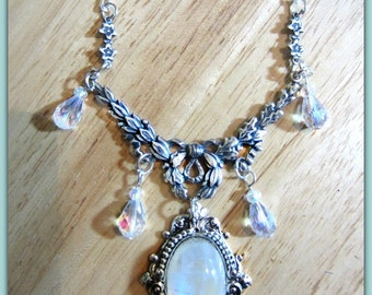 Rainbow Moonstone Necklace, Sterling Silver