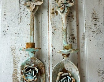 Large metal spoon w/ fork candle holders wall hanging shabby cottage chic distressed painted utensils blue cream decor anita spero design