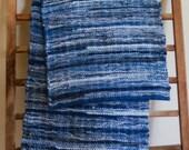 """Hand Woven Table Runner -  Denim with Blue Hem 16"""" x 54"""""""