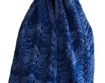 Hand Knit Scarf - Blue River Feather & Fan Alpaca Cashmere Silk