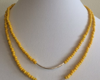 Bright Yellow Tiered Necklace with Silver Sleeves