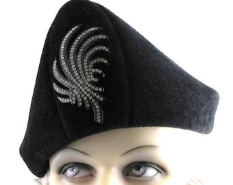 Black Velour Fur Felt Bicorn Handmade Hat Church Ascot Derby Races Cloche Fedora Hat Pin not included ArtDeco Custom Made for Each Client