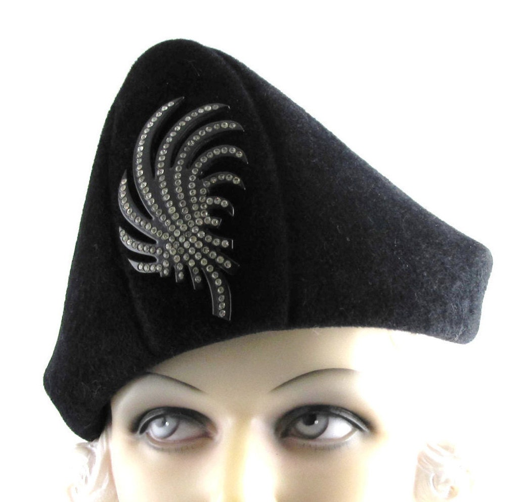 Womens Hat Black Velour Fur Felt Bicorn Handmade Hat Church
