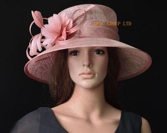 Blush pink big brim sinamay hat Formal dress Hat church hat for Kentucky derby,wedding races Melburne cup