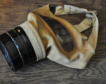 1942 Military Issued Civilian WWII Small Canvas Gas Mask CCC 42