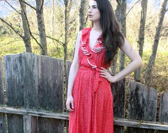 80's Ruffled Red Dress Rayon Leaf Print