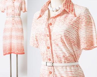 Mod Dress, 60s Dress, Mad Men dress, Vintage Orange Dress, 60s Polka Dot Dress, Vintage Shirt Dress - L/XL