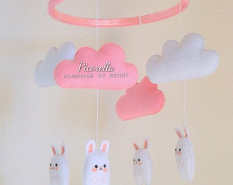 Bunny Baby Mobile / Baby Crib Mobile/ Pink Baby Mobile/ Felt Cloud, Rabbit, Kawaii Bunny/ Hanging Baby Decor