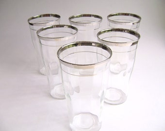 Vintage Silver Rimmed Tumbler Cocktail Glasses, Mid Century, Mad Men, High Ball, Handmade, Platinum, Fluted, Ribbed, Tapered, Mint Julep