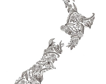 "New Zealand Map Patterned Art Print 8""x10"""