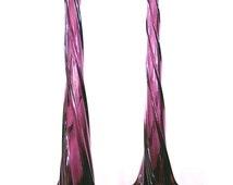 Amethyst Glass Vase - Pair Of Tall Purple Amethyst Twisted Glass Tall Vases