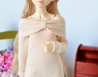 Blush bow sweater dress for Minifee, Unoa, and similar sized MSD BJDs