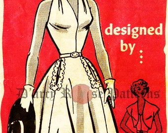 Evening Dress Sewing Pattern Anne Adams R4549 Vintage 1950s Halter Dress and Jacket Sewing Pattern Sz 15