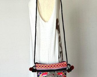 Women Floral Handbags Hmong Bag Ethnic Clutch Embroidered Purse Thai Fashion Hill Tribe Bag Vintage Handbags, Colorful Butterflies
