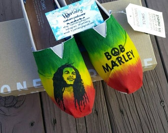 Bob Marley Inspired Toms. Hand painted Toms Shoes.